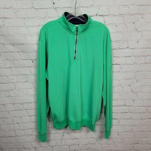 Fairway & Greene Tech Solid Long Sleeve Avalon 1/4 Zip Pullover Green Mens XL
